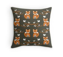 Cute Woodland Creatures Orange Fox Birds and Trees Pattern Throw Pillow