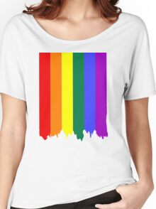 LGBT Gay Pride Rainbow Drip Paint Women's Relaxed Fit T-Shirt