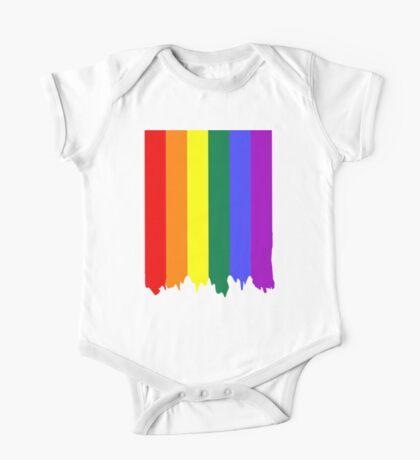 LGBT Gay Pride Rainbow Drip Paint One Piece - Short Sleeve