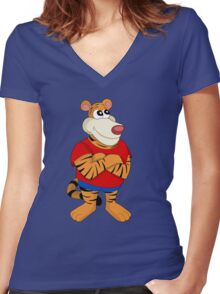 Cartoon tiger Women's Fitted V-Neck T-Shirt