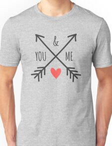 Cute Arrows and Heart Design You & Me  Unisex T-Shirt