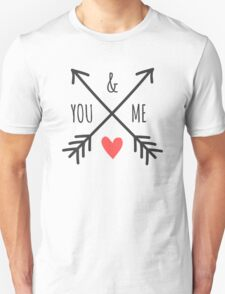 Cute Arrows and Heart Design You & Me  T-Shirt