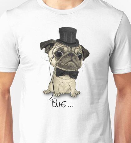 Pug; Gentle Pug (v3) Unisex T-Shirt