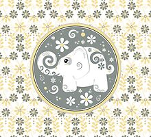 white elephant daisy floral in yellow, grey, white by wasootch