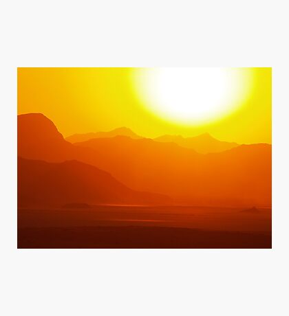 sunset wadi rum desert in Jordan Photographic Print