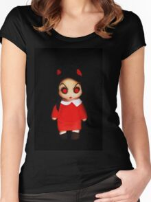 Sinderella the Cute Devilish Dark Gothic Doll  Women's Fitted Scoop T-Shirt