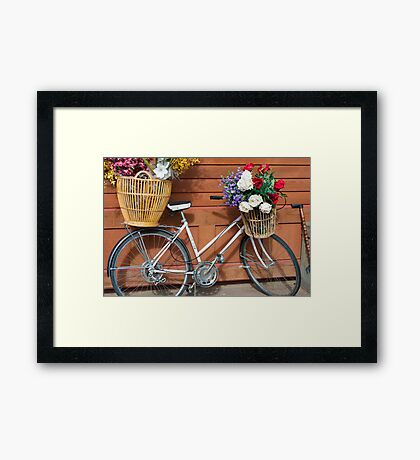 White Bicycle with Basket of Flowers Framed Print