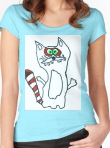 Mr Raccoon the Cool Cartoon Comic Friend Women's Fitted Scoop T-Shirt