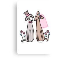 Greyhound Wedding Couple - pink Canvas Print