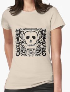 skull stencil Womens Fitted T-Shirt