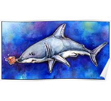Itty Bitty Octopus and a Great White Shark Poster