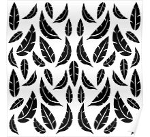 Black on White Modern Masculine Graphic Feather Pattern Poster