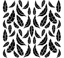 Black on White Modern Masculine Graphic Feather Pattern Photographic Print