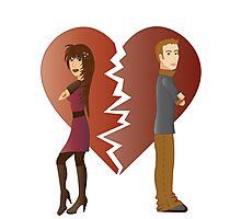 Couple with broken heart  Photographic Print