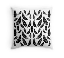 Black on White Modern Masculine Graphic Feather Pattern Throw Pillow