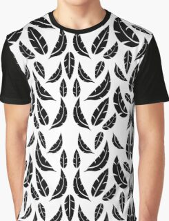Black on White Modern Masculine Graphic Feather Pattern Graphic T-Shirt