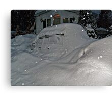 I Believe There Is A Vehicle Under That Snow Drift Canvas Print
