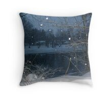 Passaic River In The Winter Throw Pillow