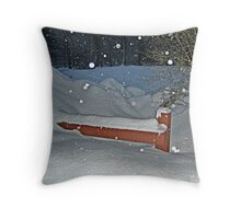Snow All the Way To The Top Of the Fence Throw Pillow