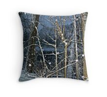 Trees By The River In A SnowStorm Throw Pillow