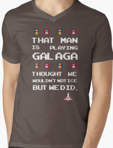 That Man is Playing Galaga! Mens V-Neck T-Shirt