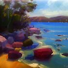 Rocky shore, Port Arthur. by Tash  Luedi Art