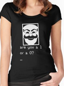 Are you a 1 or a 0? Mr. Robot - Fsociety (white) Women's Fitted Scoop T-Shirt