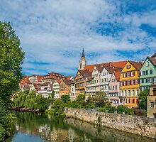 Tübingen - Picture Postcard View from the Neckar Bridge by Mark Bangert
