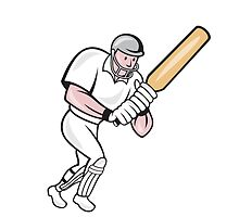 Cricket Player Batsman Batting Cartoon by patrimonio