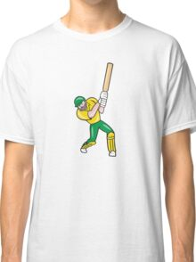 Cricket Player Batsman Batting Front Cartoon Isolated Classic T-Shirt