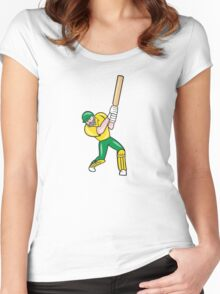 Cricket Player Batsman Batting Front Cartoon Isolated Women's Fitted Scoop T-Shirt