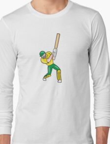 Cricket Player Batsman Batting Front Cartoon Isolated Long Sleeve T-Shirt
