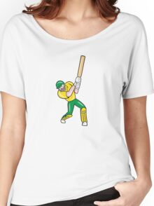 Cricket Player Batsman Batting Front Cartoon Isolated Women's Relaxed Fit T-Shirt