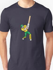 Cricket Player Batsman Batting Front Cartoon Isolated Unisex T-Shirt