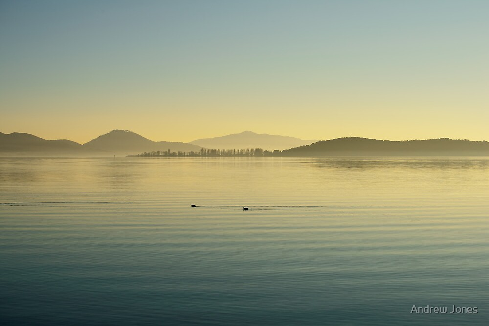 Tranquil winter evening, Lago Trasimeno from Monte del Lago, Umbria, Italy by Andrew Jones