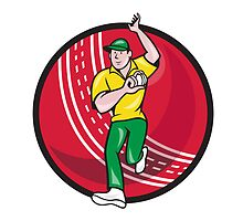 Cricket Fast Bowler Bowling Ball Front Cartoon by patrimonio