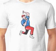 Cricket Fast Bowler Bowling Ball Blue Red Unisex T-Shirt