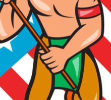 Native American Lacrosse Player Stars Stripes Shield Sticker