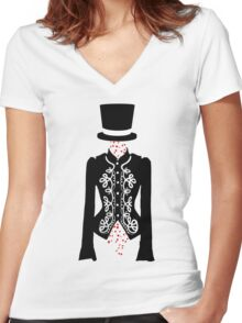 red rose ghost Women's Fitted V-Neck T-Shirt
