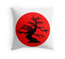 bonsai red sun  Throw Pillow