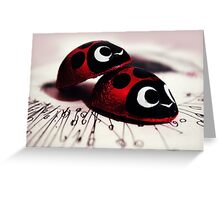 Cute Ladybugs Cuddle Sweet Red Love Phototgraph Greeting Card