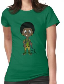 Funky adventure girl cartoon Womens Fitted T-Shirt