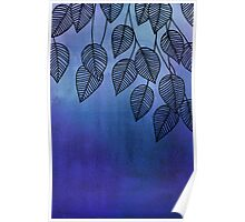 Midnight Blue Garden - watercolor & ink leaves Poster