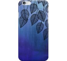Midnight Blue Garden - watercolor & ink leaves iPhone Case/Skin