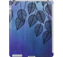 Midnight Blue Garden - watercolor & ink leaves iPad Case/Skin
