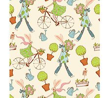 Pattern with spring rabbit on the bicycle and water can by Maryna  Rudzko