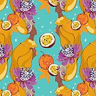 Pattern on case  with pretty african girl and maracuja by Maryna  Rudzko
