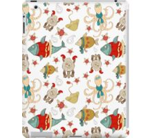 Pattern with sea animals and fish in hipster style iPad Case/Skin