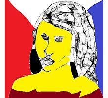Female Head: Yellow angel -(160214)- Digital artwork/MS Paint Photographic Print