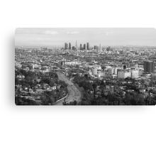Los Angeles Basin And Los Angeles Skyline Panorama Monochrome Canvas Print